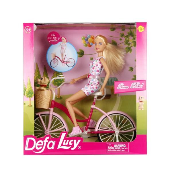 Кукла шарнирная Defa на велосипеде, арт. 8276